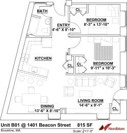 Floor Plan Two Bedroom One Bath B01